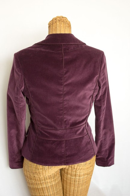 Kenneth Cole Fitted Two-button Velvet Lined Pockets Satin Trim Elegant Feminine Jacket Purple Plum Blazer Image 1