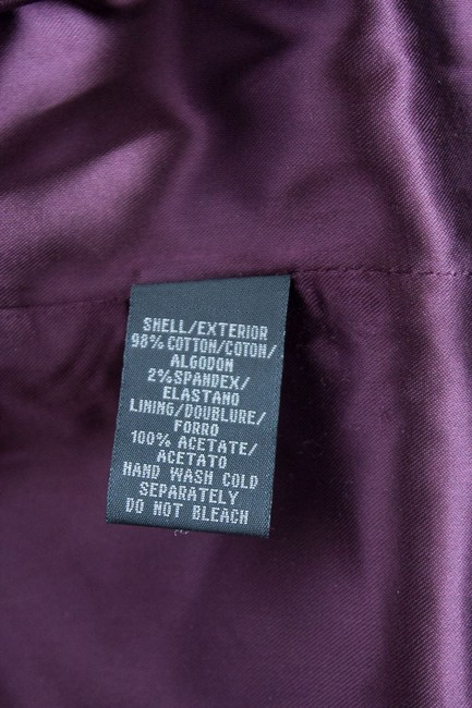Kenneth Cole Fitted Two-button Velvet Lined Pockets Satin Trim Elegant Feminine Jacket Purple Plum Blazer Image 3