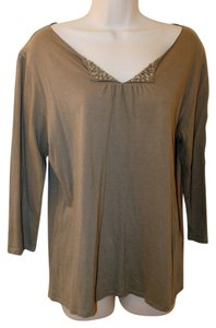 Talbots Embellished T Shirt in Olive Green
