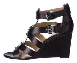 Michael Kors Open Toe Leather Ankle Straps Reagan Black Palladium Smooth Calf Wedges