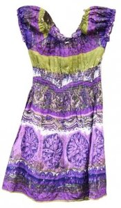 Cassee's short dress PURPLES AND EMERALD GREEN Cotton Colors Amethyst Plus Size Summer African Style Ethnic on Tradesy