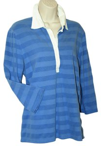 Izod Rugby Striped Stripe Cornflower T Shirt in Periwinkle Blue