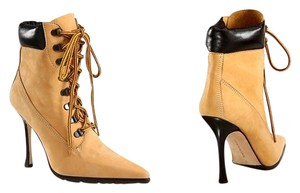 Manolo Blahnik Suede and Leather Lace-Up Ankle Boots Suede and leather upper Boots
