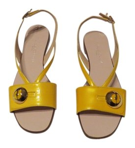 Charles Jourdan Bold Color Subtle Shine Gold Undertone Elegant Design Made In Italy Yellow Sandals