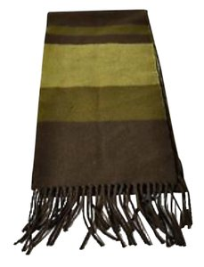 Burberry Green 100% Cashmere Stripped Scarve