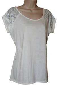 Covington Embellished Boxy T Shirt in Off White
