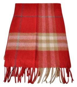 Burberry Burberry 100% Cashmere Red Brown Plaid Frindge Scarf