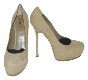 Saint Laurent Ysl Tribtoo Suede Pump NUDE Pumps