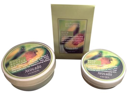 Body Treatment Avocado Bath Collection; Bath Salt (180 g/ 6 oz.), Bath Fizz (180 g/ 6 oz.) and Body Butter (240 ml/ 8 Fl. Oz.) by Body Treatment - [ Roxanne Anjou Closet ]