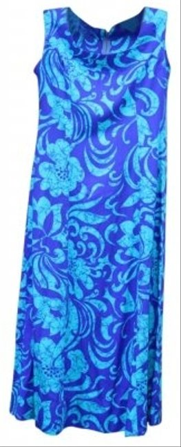 Preload https://img-static.tradesy.com/item/134405/blues-and-turquoise-stylish-cotton-floral-flowers-wear-woman-lady-ladies-women-mid-length-workoffice-0-0-650-650.jpg
