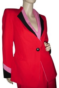 Escada Escada by Margaretha Ley, Made in W. Germany, red blazer w skirt & logos all over