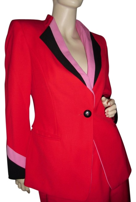 Escada Red Pink Black W Margaretha Ley Made In W. Germany Blazer & Logos All Over Skirt Suit Size 6 (S) Escada Red Pink Black W Margaretha Ley Made In W. Germany Blazer & Logos All Over Skirt Suit Size 6 (S) Image 1