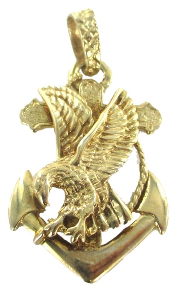Gold 10kt solid yellow pendant anchor eagle cross charm tradesy gold pendant anchor eagle cross 12345678 aloadofball Images