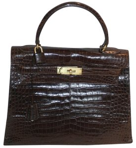 Hermès Crocodile Alligator Vintage Kelly Tote in Dark Brown Havane