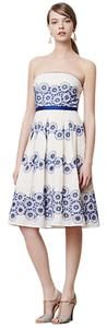 Anthropologie short dress blue, white, yellow Embroidered Strapless on Tradesy
