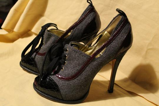 Dsquared2 Tweed Laced Up Stiletto Gray Platforms Image 1