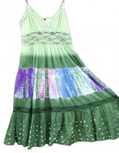 GREENS, VARIATIONS AVOCADO Maxi Dress by AFRO-FUSION Tye Dye Colors Macrame Maxi Summer Spring Beach Cotton Fresh Fun Sexy