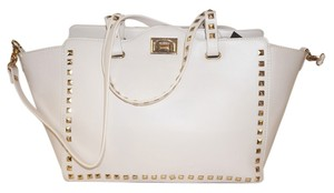 BCBG Paris Studded Kate Spade Gucci Tote in stone white