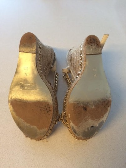 ALDO Gold Straps with Cork Wedge Wedges Image 1