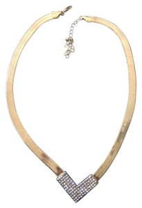 V Shape Rhinestones Goldtone Necklace