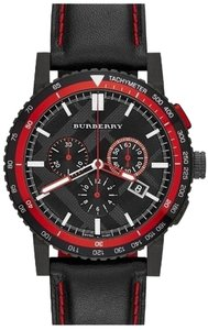 Burberry NWT The City Chronograph Black Dial Black Leather Men's Watch BU9803