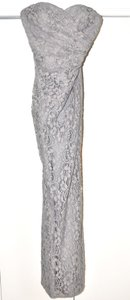 David's Bridal Grey Lace W10329 Formal Bridesmaid/Mob Dress Size 4 (S)