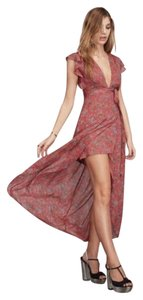 Reformation Flowy Floral Print Long Fitted Waist Dress