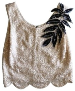 Other Vintage Blouse Evening Special Occasion Sequin Sequins And Top Ivory with lacquer black applique