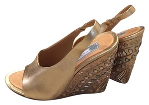 Ivy Kirzhner Leather Art Deco Wedge gold Wedges