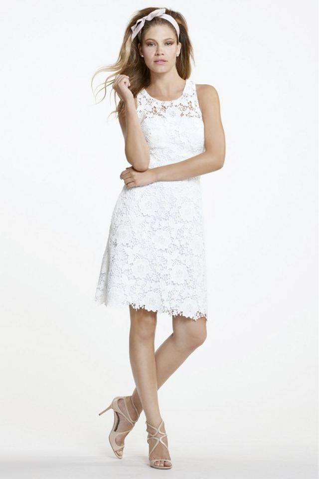 Encore Light Ivory Cotton Lace Candy By Watters Casual Wedding Dress Size 4