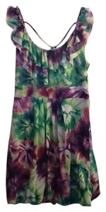 short dress Green/Muli-colored Multi-colored Ruffle Flowers on Tradesy