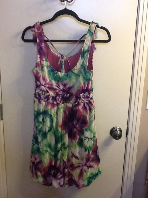 Other short dress Green/Muli-colored Ruffle Flowers Sleeveless on Tradesy