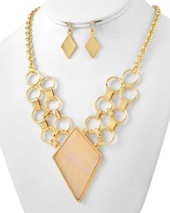 Gold Tone White Shell Print Epoxy Necklace & Post Earring Set