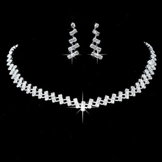Silver Bogo Free Rhinestone Necklace Er Free Shipping Jewelry Set