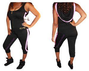 House of Deron Beyonce Jumpsuit Sequin Capris Black Pink
