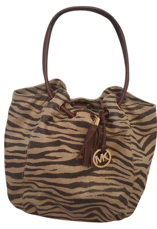 Michael Kors Totes and Shoppers Chocolate Brown Gold Zebra Print Fabric Shoulder Bag