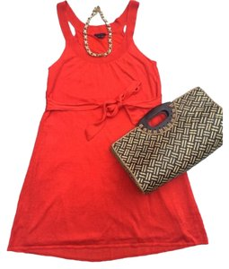 Theory short dress orange Linen on Tradesy