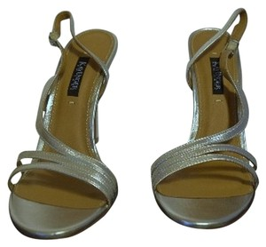 Kay Unger Stiletto Leather Strappy Silver Sandals