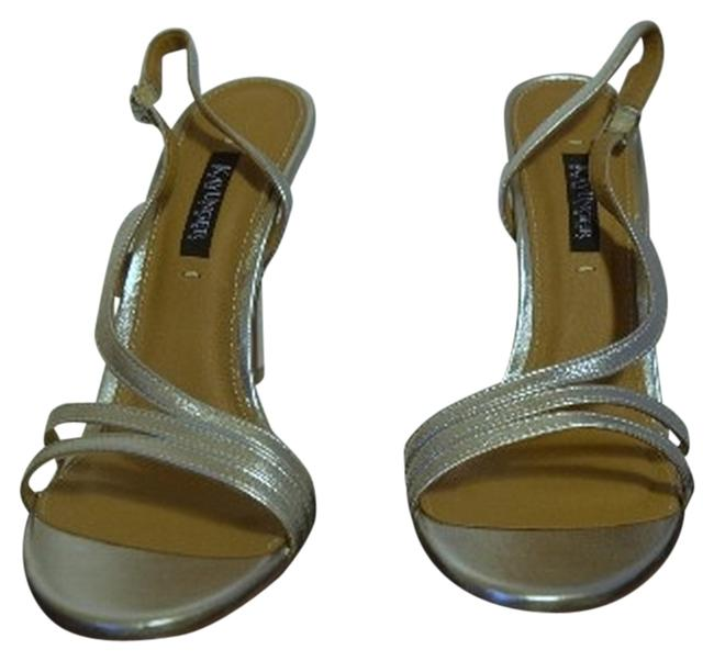 Item - Silver Strappy Pumps with 5 Inch Heel Sandals Size US 10 Regular (M, B)