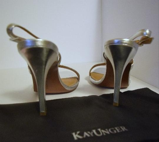 Kay Unger Stiletto Leather Strappy Silver Sandals Image 1