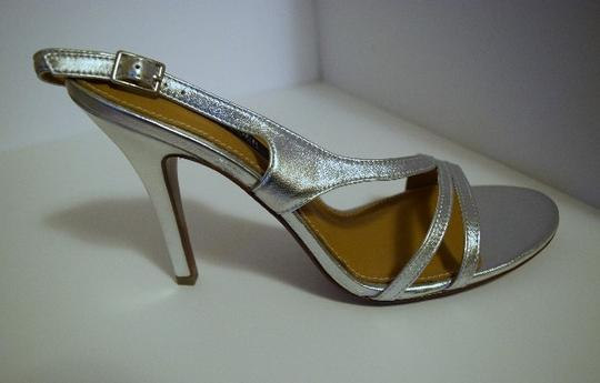 Kay Unger Stiletto Leather Strappy Silver Sandals Image 2