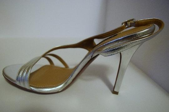 Kay Unger Stiletto Leather Strappy Silver Sandals Image 3