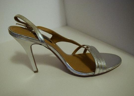 Kay Unger Stiletto Leather Strappy Silver Sandals Image 4