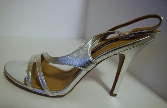 Kay Unger Stiletto Leather Strappy Silver Sandals Image 5