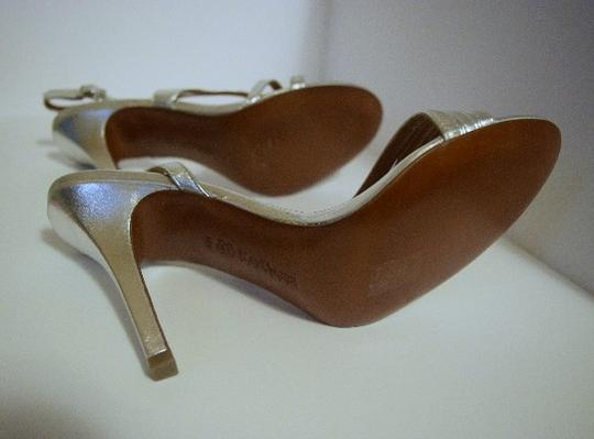 Kay Unger Stiletto Leather Strappy Silver Sandals Image 6