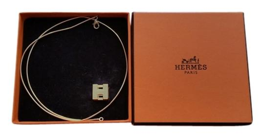 Hermès HERMES Orange Enamel Gold Cage D' H Cube Square Necklace
