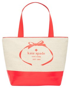 Kate Spade Colorblock Two-tone Canvas Tote Tote Beige Beach Bag