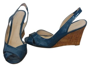 Bandolino Patent Leather Wedge Peep Toe Blue Wedges