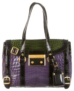 Prada Dust Cover Plastic Id Card Tote in Lilac, Green, Black