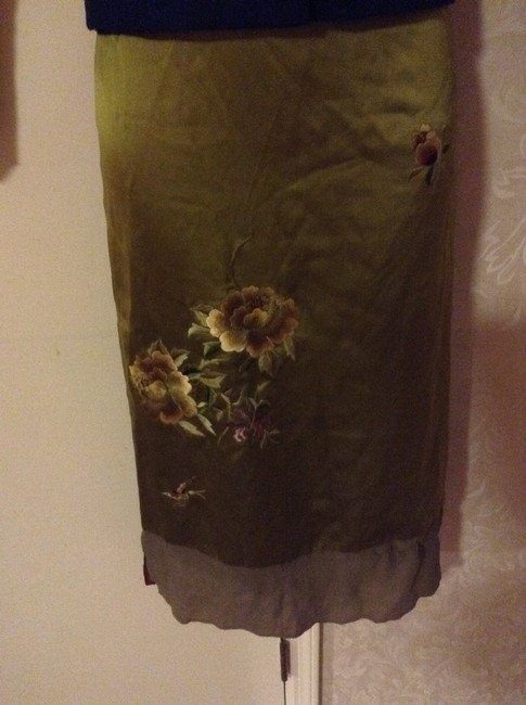 Mandalay Silk Chartreuse Embroidered Floral Flowers Dress Sexy Skirt Green